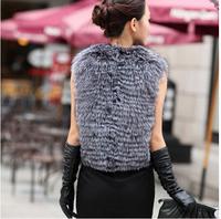 2014 Fall Fashion For Women  Winter Warm Silver Fox Fur Vest Gilet Outerwear Womens Fur Coat Colete De Pele Plus Size S-3XL  E84