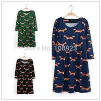 AL8042 Half Sleeve Mini Autumn Winter Ladies Elegant O Neck Animal Fox Print New 2014 Women Clothing Cotton Dresses Casual Dress