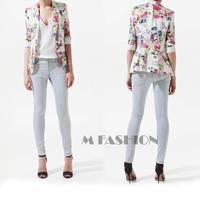 2014 new Ladies fashion full Sleeve notched decorated sheer blazer slim coat tops Jackets SV005750