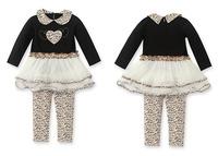 baby girls autumn clothing. long sleeve leopard TUTU dress printed pant lace party girls dress children girl clothing set