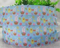 """10 Yards 7 8"""" 22mm Easter Bunny EGG Print Grosgrain Ribbon Hair BOW Crafts DIY Gift Colorful Print Ribbons Wholesale Blue Tape"""