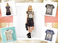 European Girl Women Fashion Palace Print Round Neck Top Flower Printed Pattern Tee Short Sleeve T-Shirt 3Colors Gift