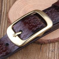 Vintage royal embossed women's casual genuine leather pin buckle strap female cowhide belt female