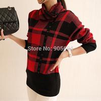 2014 New Autumn Winter Turtleneck Plaid Knitted Sweater Oblique Button Dero Women Long Sleeve blusas de inverno Pullovers HZ121