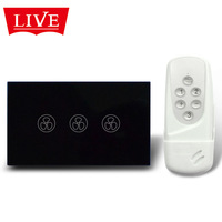 LivePower A /USType Wireless Remote Control Touch Fan Speed Switch,3-Mode Speed Fan Switch with Crystal Panel+blue LED indicator