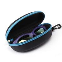Protable Zipper Clam Shell Hard Case Box Pouch Bag Eye Glasses Sunglasses Black  Blue