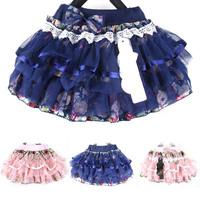Trendy Baby Girl Kid Tutu Skirt Floral Chiffon Tulle Ruffle Princess Mini Skirts