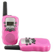 T-388 Dual 2pcs Pi nk Adjustable Mini Portable LCD 5KM UHF VOX 2-Way Multi Channels Car Auto Radio Wireless Travel Walkie Talkie