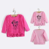 Little Toddler Baby Girls children t shirt kids 2014 girl t shirts kids full sleeve Brand minnie girl tops