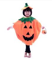 cute Pumpkin costume clothes for Halloween non-woven material (pumpkin bag, bucket, headband,ect) for kids/children