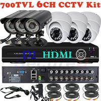 Free shipping 6ch cctv camera kits video surveillance thermal alarm audio system 8ch D1 DVR network digital video recorder HDMI