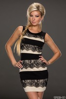 2014 New Fashion Women Sleeveless Lace Insert Bodycon Fitted Mini Casual Summer Dress