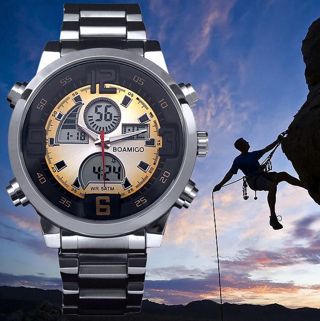 BOAMIGO Brand Watch Men's Sports Military LED fashion Casual Quartz Wristwatches Digital Analog Multifunctional Watches(China (Mainland))