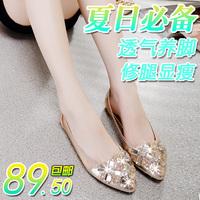 2014 shoes women's sandals female flat pointed toe flat heel fashion rhinestone beaded women's shoes