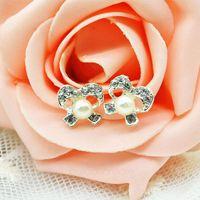 1 Pair Sweet Elegant Crystal Rhinestone Pearl Bowknot Design Girls Ear Stud Earring Earing Women Fashion Jewelry Y60*MHM214#M5