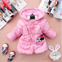 Baby Girls Cute Little Pincess Coat Jacket Mickey Printed Style Hooded Winter Outerwear Coat Free Shipping K8032