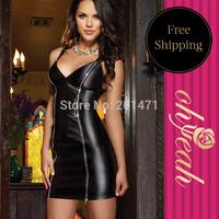 R7858 Free Shipping Shiny Solid Black Sheath Deep V-neck Mini Sex Dress Women Leather Plus Size Dress