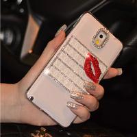 Fashion Luxury Sexy Lip Bling DIY Handmade Diamond Rhinestone Clear Cases Cover For Samsung Galaxy S4 S5 Note 3 Women Shell Skin