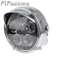 "PAZOMA 2014 New PAZOMA Streetfighter 7"" Chrome Round LED Headlight SV400 GSX  XJR400 YBR"
