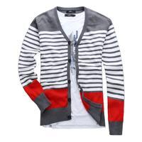 Mens Cotton Knitwear Sweater Plus Size Casual Strip Fashion Long-sleeve Autumn Sweater 2XL-5XL Big Yard Sweater