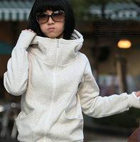 Free Shipping 2014 Korea Women Hoodies Coat Warm Zip Up Outerwear Sweatshirts4 Colors R14