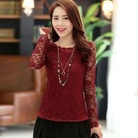 Women Tops And Blouses 2014 New Fashion Long Sleeve Slim Solid Lace Casual Novelty Bottoming Shirt Ropa De Mujer 985