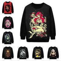 2015 New Fashion 3D Print Hoodies Woman Boat Mermaid Octopus Punk Style Coat Man Hoody Sportwear Sweatshirt Free Shipping