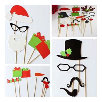 17pcs Рождеством серии Photo Booth Реквизит Hat Усы Губы очки на палочке День рождения партии Подарок Fun пользу Новогодняя распродажа!