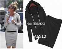 A6910 2014New Autumn High Quality Cotton Sport Suit Casual Sport Set Tracksuits 2pcs/set (Hoodies+Irregular Skirt ) FreeShipping