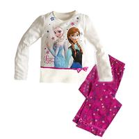 New Arrival 1set=2pcs 100% cotton 8-12 years old kids pajamas long sleeve Fall Winter pajamas sleepwear  2014-8-12  F077
