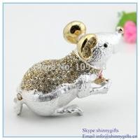 Silver Diamond Mouse shape metal Jeweled package box desk decoration