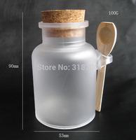 Free shipping - 24 *100g bath salt ABS Bottle, 100ml powder plastic bottle, bath salt bottle with wooden spoon