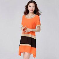 One-piece dress summer plus size clothing mm basic loose short-sleeve chiffon one-piece dress
