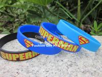 Printed Superman logo Wristband, Silicon Bracelet, 3colours, Custom design wristband, 100pcs/lot, free shipping