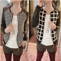 New ladies Jacket 2014 fashion spring and autumn women long sleeve PU splicing tops Short jacket black jacket coat S-XXL