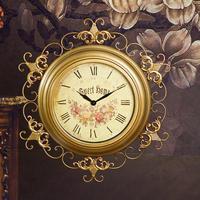 European retro wall clock decorative wrought iron garden upscale craft wall clock gold