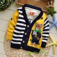 2014  Autumn/Winter new style Baby Cartoon knit cardigans sweaters,infant  fashion Star Bear stripe pattern sweatercoat,V1393B