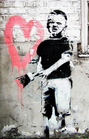 Handmade Banksy   Wall Art Painting on Canvas Modern