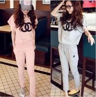 New 2014 Women's Pink Short-sleeve Sweatshirt Sets Hoodies Set Tops + Pants Plus Size Sport Suits Sportswear Tracksuits
