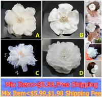 2014 Fashion Blooming Silk Satin White Flower Hair Clip Hair Pin wedding Bridal Bridesmaid Party