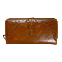 Free shipping! Retro oil wax leather purse leather wallet women Large Zip Clutch