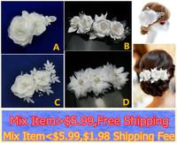 2014 Fashion  White silky Hair Clip   Bridal Wedding Headpiece Hair Clip comb flower pearls crystals beaded Wedding lace