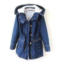 2014 new winter Women's hooded down jacket Lady's warm thicken denim coat Female adjustable waist outerwear Free shipping