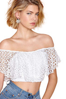 Cutout Lace Hook Needle Embroidered Batwing Sleeve Racerback Bare Midriff Sweet Lace Shirt Cute Lace Blouses Dropshipping