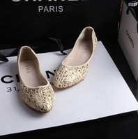 Fashion 2014 vintage lace cloth bling pointed toe flat-bottomed single shoes female shoes