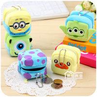 Wholesale 10pcs Cute cartoon strange mini animal plush bag creative portable zero wallet key bag small coin purse free shipping