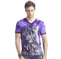 New 2014 summer 3D Night light men t shirt short sleeve man 3D Lightning deer Glow Fashion t-shirt  V-Neck High Quality L-XXXL