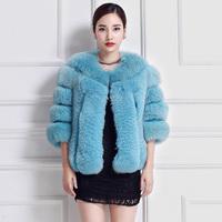 100% Genuine Fox Fur Hair Women Short Coats Female Natural Fur Outwear Jackets Female Winter Clothing 2014 Three-quarter Sleeve