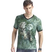 New 2014 summer 3D Night light men t shirt short sleeve man 3D Three wolf moon Glow Fashion t-shirt  V-Neck High Quality L-XXXL