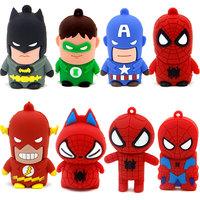 Cartoon Superman Batman spiderman Usb Flash Drive 2.0 High Quality By H2testw Stick Pendrive 32gb Gift Metal Box Free shipping